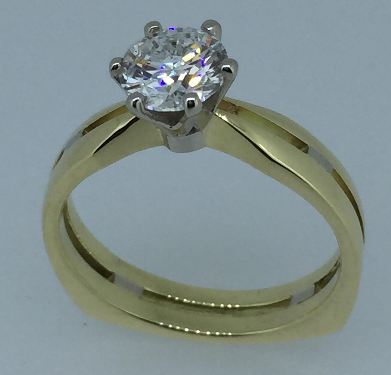 Sužadėtuvių žiedas su deimantu